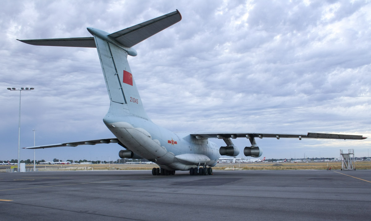 21045 Ilyushin IL-76MD (MSN 0083486570) of the Peoples Liberation Army Air Force (PLAAF), 13th Transport Division, 39th Air Regiment, Dangyang, China, at Perth Airport - Mon 24 March 2014. Photo © Wilson