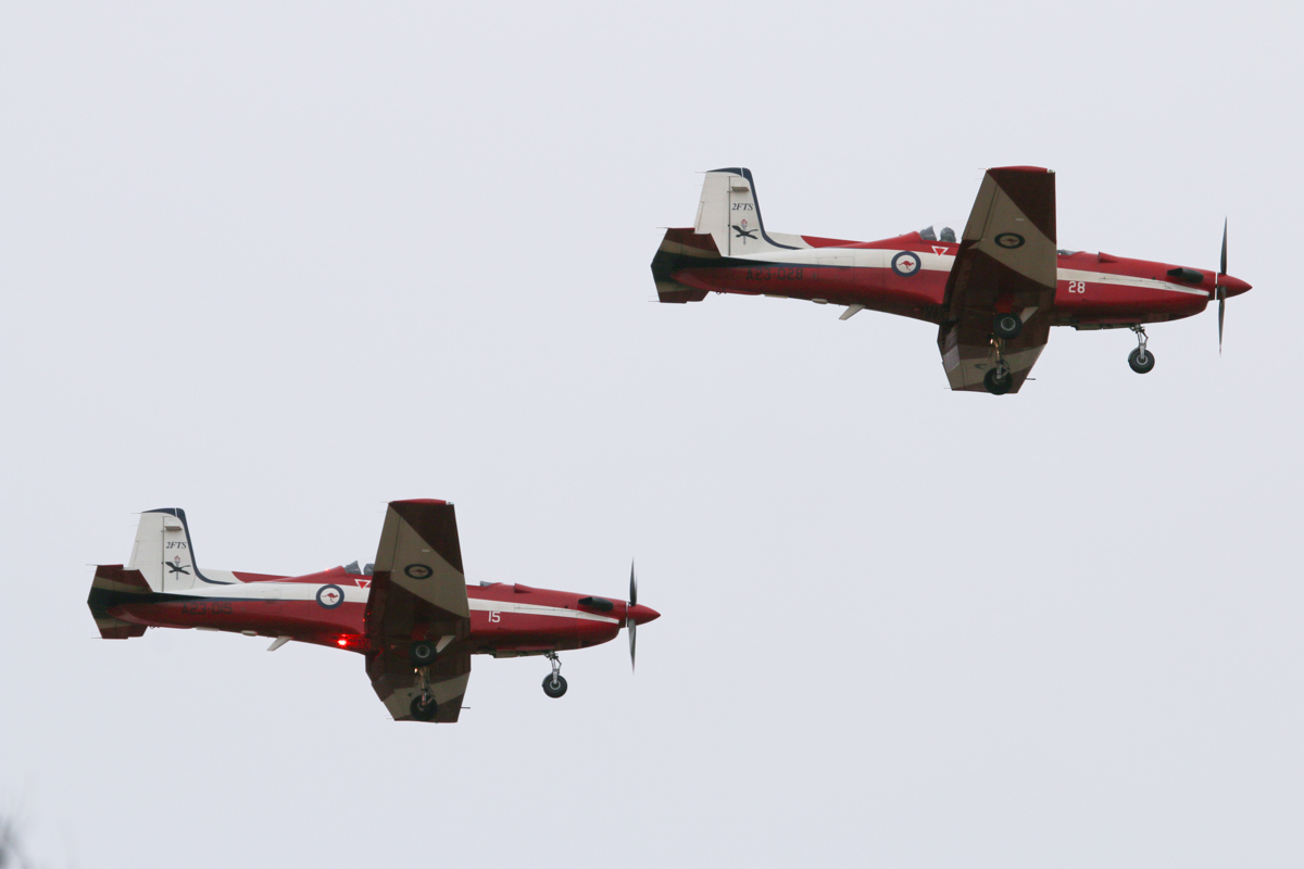 A23-015 (MSN 515) & A23-028 (MSN 528) Pilatus PC-9/A of the RAAF, 2 Flying Training School (2FTS), at RAAF Pearce - Tue 25 March 2014. Photo © David Eyre