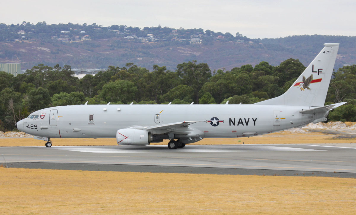 168429/LF-429 Boeing P-8A Poseidon (737-8FV) (MSN 40809/3792) of US Navy squadron VP-16 'War Eagles', at Perth Airport - Wed 26 March 2014. Photo © Steve Jaksic