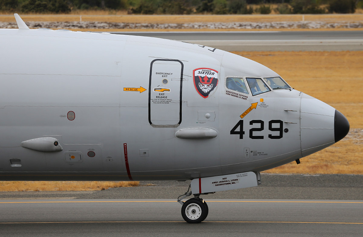 168429/LF-429 Boeing P-8A Poseidon (737-8FV) (MSN 40809/3792) of US Navy squadron VP-16 'War Eagles', at Perth Airport - Wed 26 March 2014. Photo © Keith Anderson