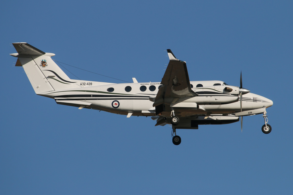 A32-439 Beech B300 King Air 350 (MSN FL-439 of RAAF, 38 Squadron, based at Townsville, QLD, '38 Sqn: 70 years' logo on tail, at Perth Airport – Fri 28 March 2014. Photo © David Eyre