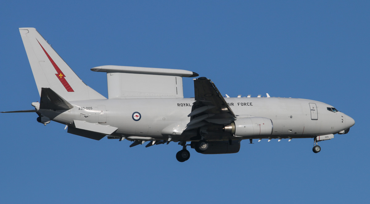 A30-005 Boeing E-7A Wedgetail (737-7ES) (MSN 33896/1934) of RAAF, 2 Squadron, based at RAAF Williamtown, NSW, at Perth Airport - Tue 1 April 2014. Photo © David Eyre