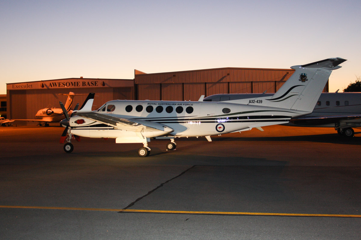 A32-439 Beech B300 King Air 350 (MSN FL-439) of RAAF, 38 Squadron, based at Townsville, QLD, '38 Sqn: 70 years' logo on tail, at Perth Airport – Tue 1 April 2014. Photo © Wilson