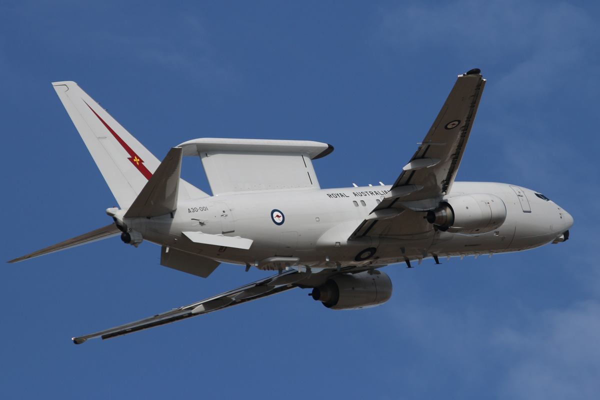 A30-001 Boeing E-7A Wedgetail (737-7ES) (MSN 33474/1245) of the RAAF, 2 Squadron, based at RAAF Williamtown, NSW, at Perth Airport – Thu 3 April 2014. Photo © David Eyre