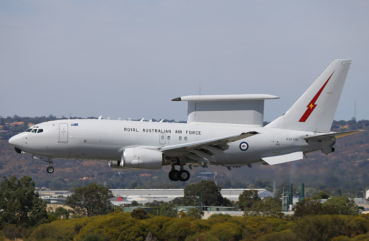 A30-001 Boeing E-7A Wedgetail (737-7ES) (MSN 33474/1245) of the RAAF, 2 Squadron, based at RAAF Williamtown, NSW, at Perth Airport – Thu 3 April 2014. Photo © Keith Anderson