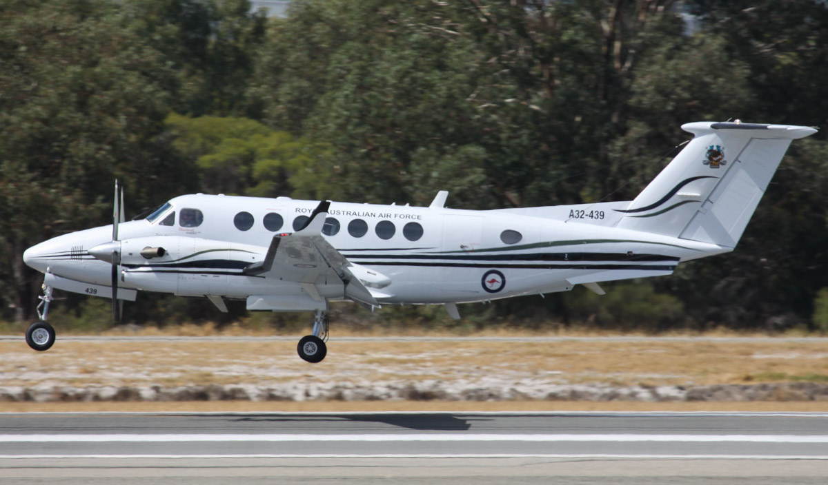 A32-439 Beech B300 King Air 350 (MSN FL-439) of RAAF, 38 Squadron, based at Townsville, QLD, '38 Sqn: 70 years' logo on tail, at Perth Airport – Thu 3 April 2014. Photo © Steve Jaksic