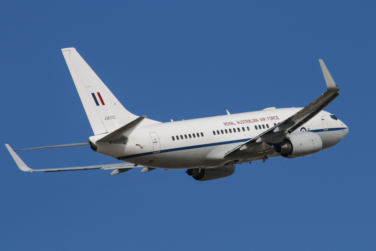 A36-002 Boeing 737-7DT (BBJ) (MSN 30790/613) of 34 Squadron, Royal Australian Air Force (leased from GECAS), based at RAAF Fairbairn, Canberra, at Perth Airport – Thu 3 April 2014. Photo © David Eyre