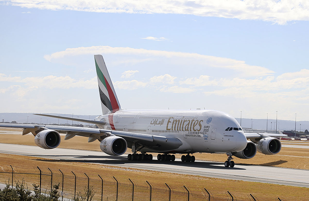 A6-EDP Airbus A380-861 (MSN 077) of Emirates at Perth Airport – Sat 5 April 2014. Photo © Keith Anderson