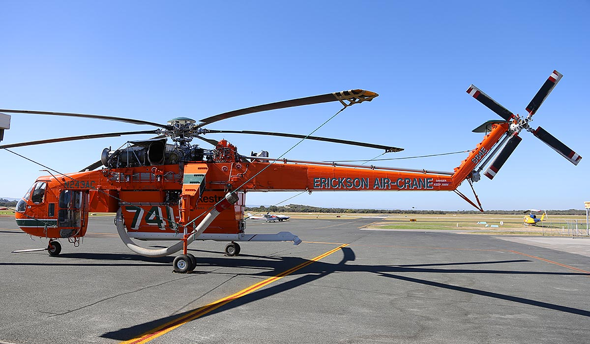 "N243AC / HELITAC741 Sikorsky S-64E Skycrane (MSN 64022), named ""Marty"", owned by Erickson Air-Crane, operating for DFES (Department of Fire & Emergency Services) at Jandakot Airport – Sun 13 April 2014. Photo © Keith Anderson"