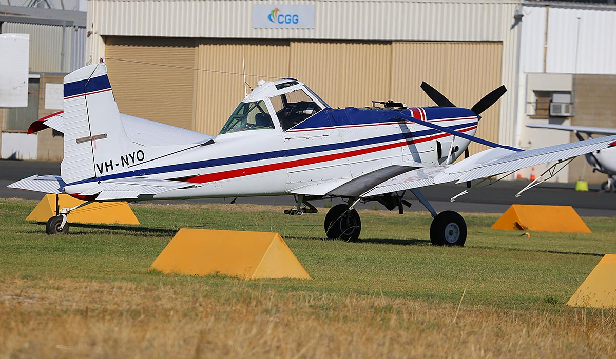 VH-NYO Cessna T188C AgHusky (MSN T18803786T), owned by Midwest Aerial Ag Pty Ltd, of Carnamah, WA, at Jandakot Airport – Sun 13 April 2014. Photo © Keith Anderson