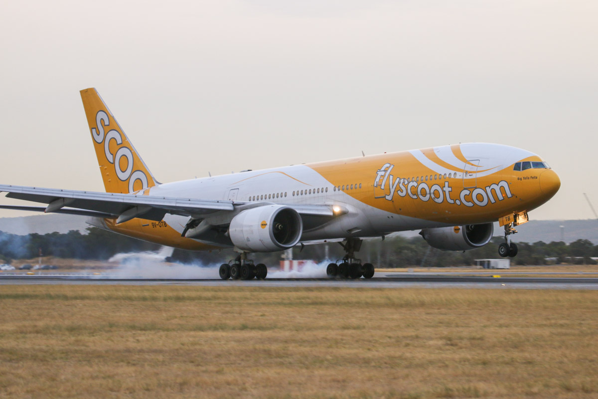9V-OTB Boeing 777-212ER (MSN 28508/83) of Scoot, named 'Big Yella Fella', at Perth Airport– Fri 4 April 2014. Photo © David Eyre