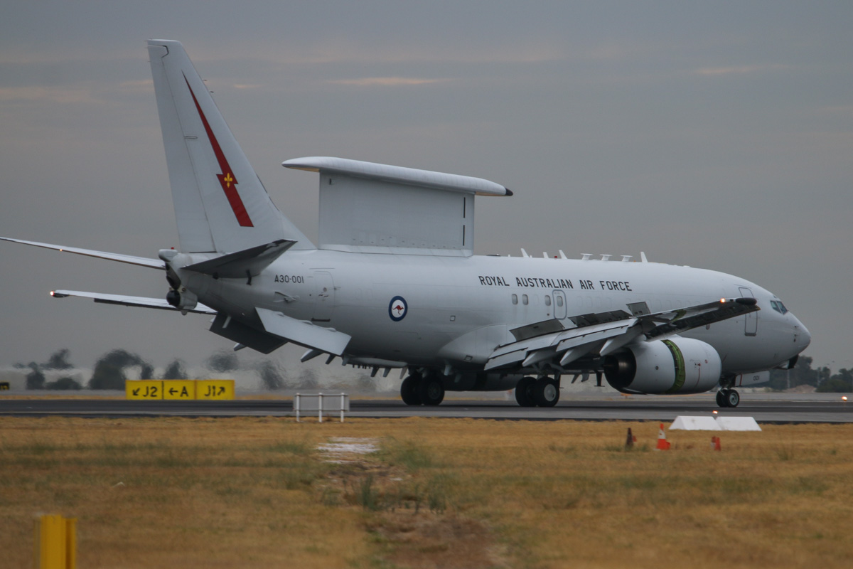 A30-001 Boeing E-7A (737-7ES) Wedgetail (MSN 33474/1245) of 2 Squadron, RAAF, at Perth Airport– Fri 4 April 2014. Photo © David Eyre