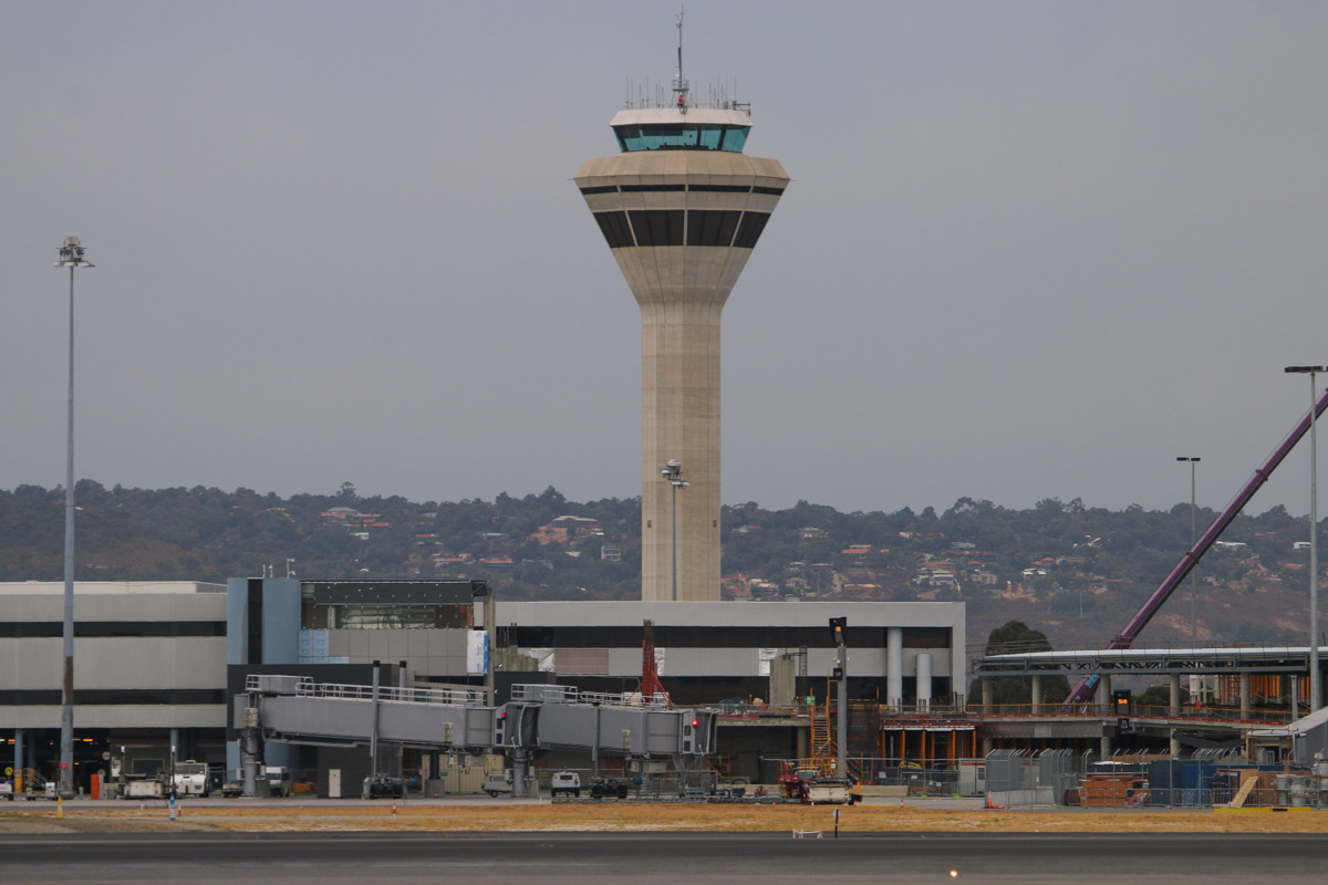 Control Tower and Terminal 1 at Perth Airport– Fri 4 April 2014. Photo © David Eyre