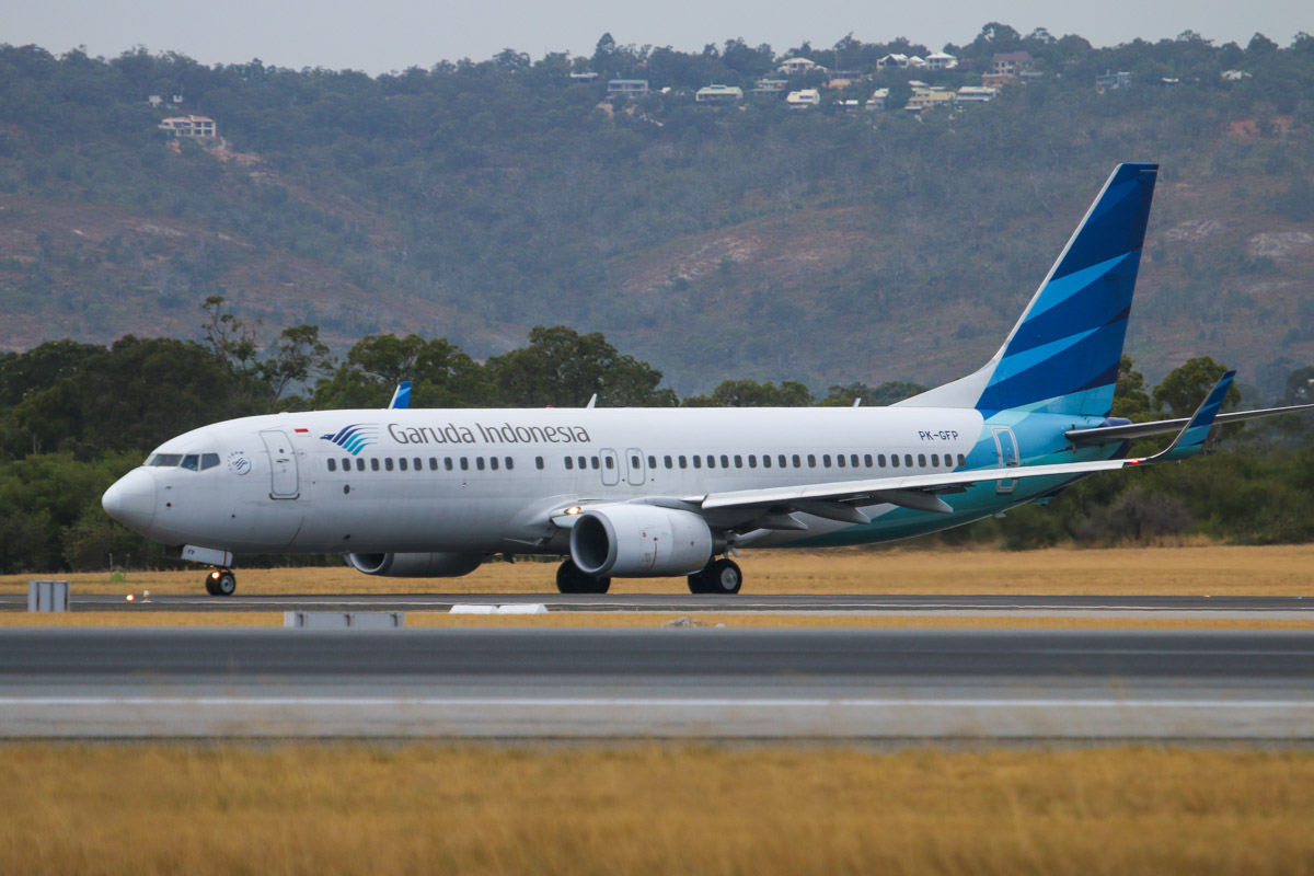 PK-GFP Boeing 737-8U3 (MSN 38821/3684) of Garuda Indonesia at Perth Airport – Fri 4 April 2014. Photo © David Eyre