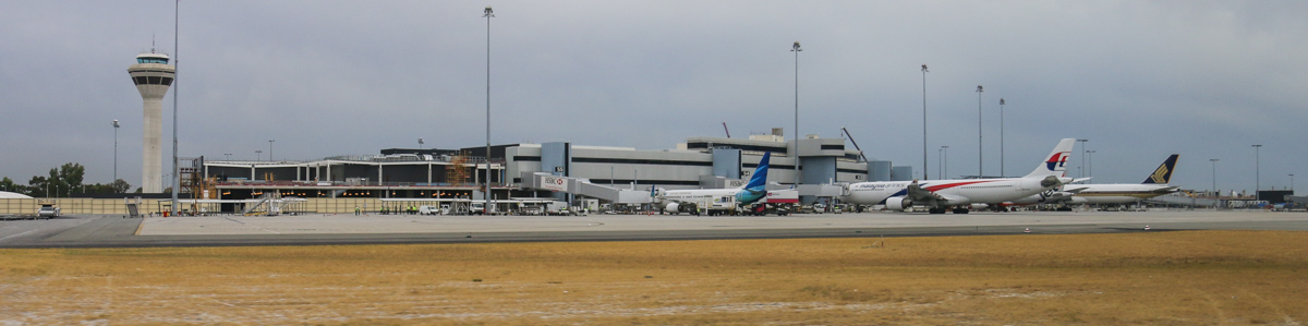 Terminal 1 (international) and Control Tower at Perth Airport – Fri 4 April 2014. Photo © David Eyre