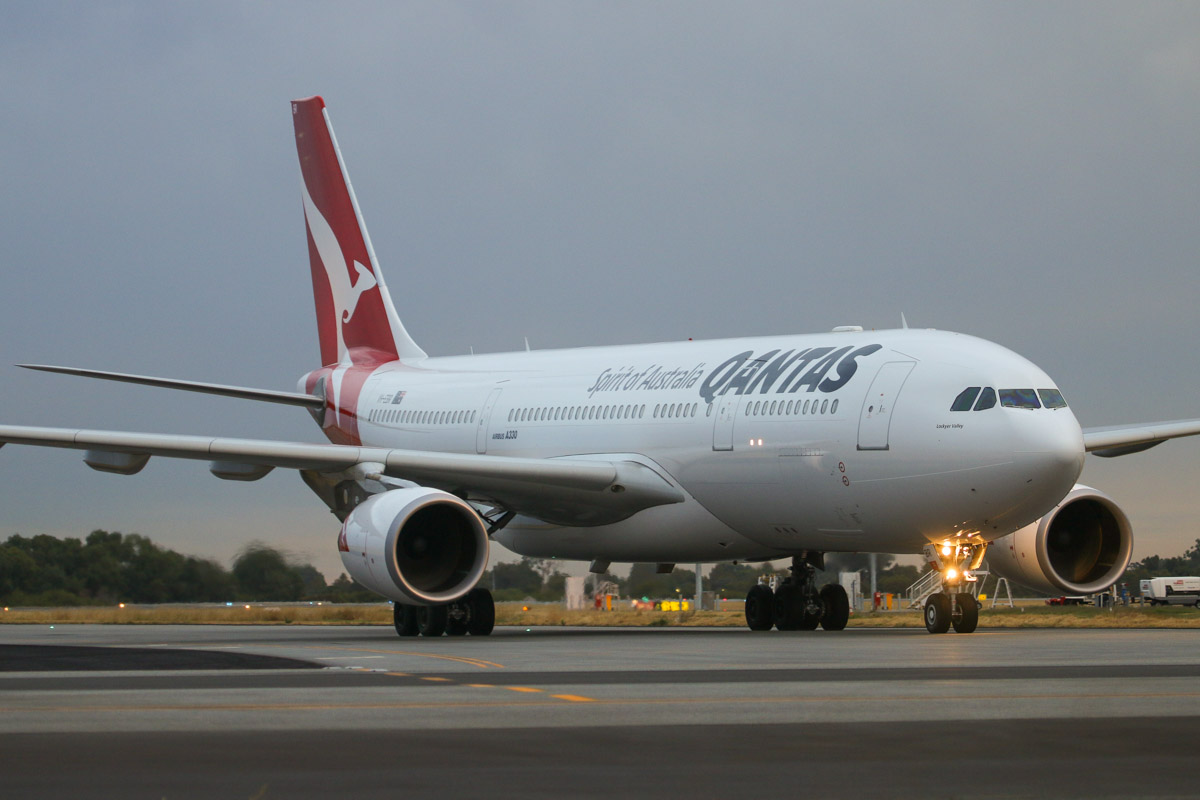 VH-EBR Airbus A330-202 (MSN 1251) of Qantas, named 'Lockyer Valley', at Perth Airport– Fri 4 April 2014. Photo © David Eyre