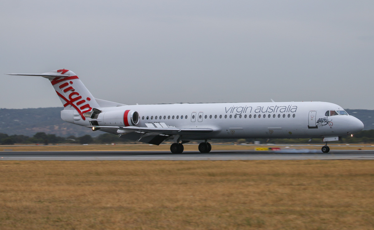 VH-FNR Fokker 100 (MSN 11488) of Virgin Australia Regional Airlines, named 'Lake Argyle', at Perth Airport– Fri 4 April 2014. Photo © David Eyre
