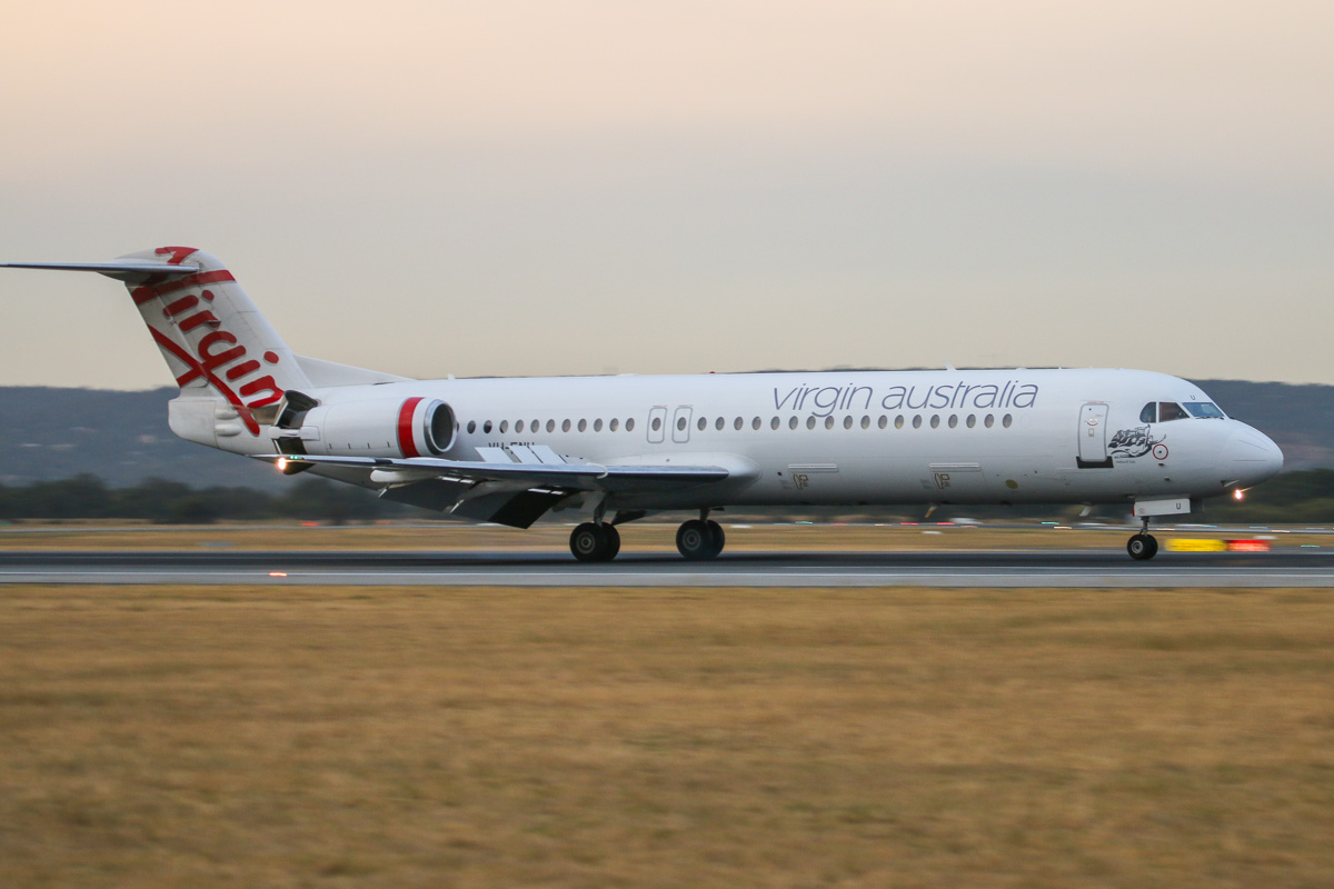 VH-FNU Fokker 100 (MSN 11373) of Virgin Australia Regional Airlines, named 'Roebuck Bay', at Perth Airport– Fri 4 April 2014. Photo © David Eyre