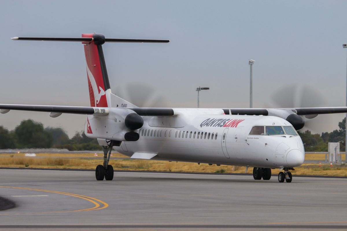 VH-LQD Bombardier DHC-8-402NG Dash 8Q-400 (MSN 4371) of QantasLink, named 'City of Greater Geraldton', at Perth Airport– Fri 4 April 2014. Photo © David Eyre