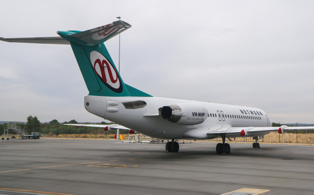 VH-NHP Fokker 100 (MSN 11399) of Network Aviation, at Perth Airport – Fri 4 April 2014. Photo © David Eyre