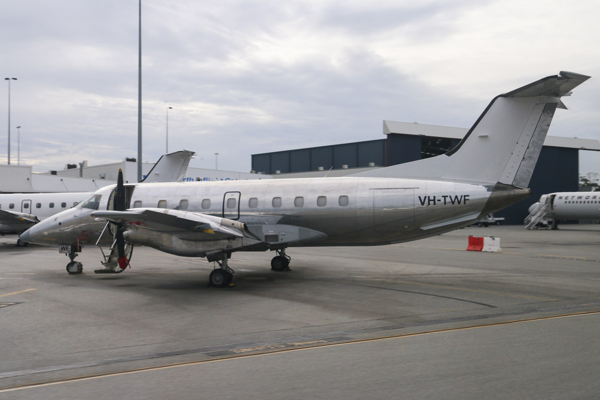 VH-TWF Embraer 120ER Brasilia (MSN 120186) of Network Aviation (no titles), at Perth Airport – Fri 4 April 2014. Photo © David Eyre