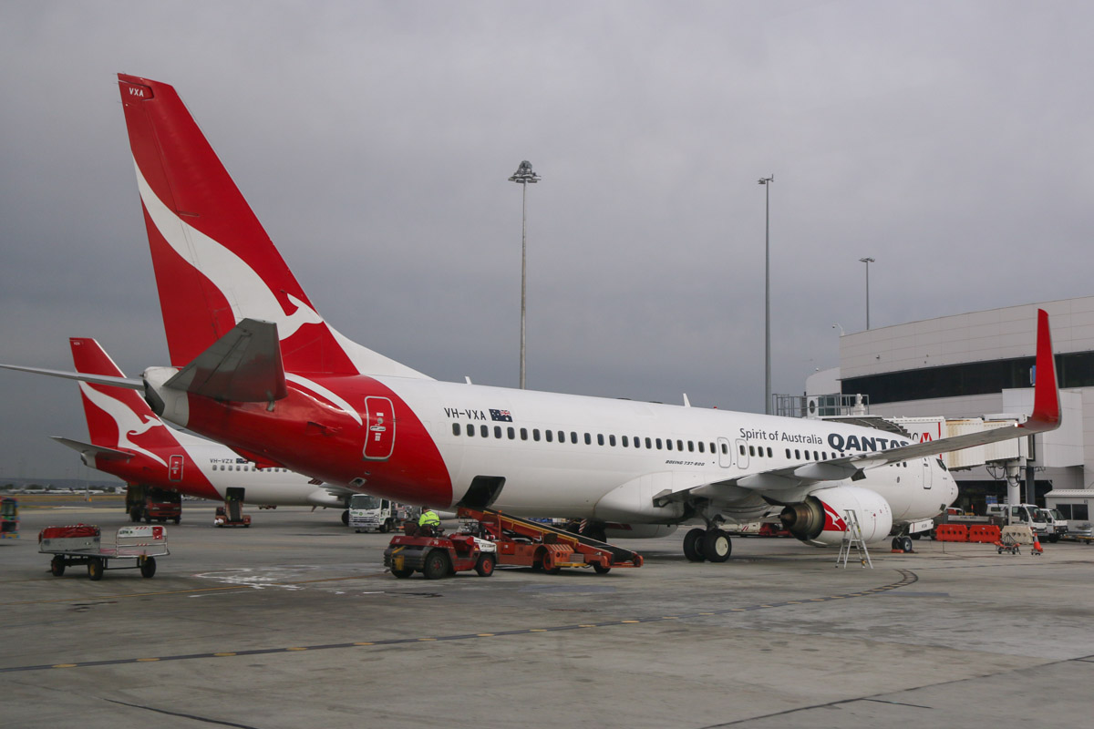 VH-VXA Boeing 737-838 (MSN 29551/1042) of Qantas, named 'Broome', at Perth Airport – Fri 4 April 2014. Photo © David Eyre