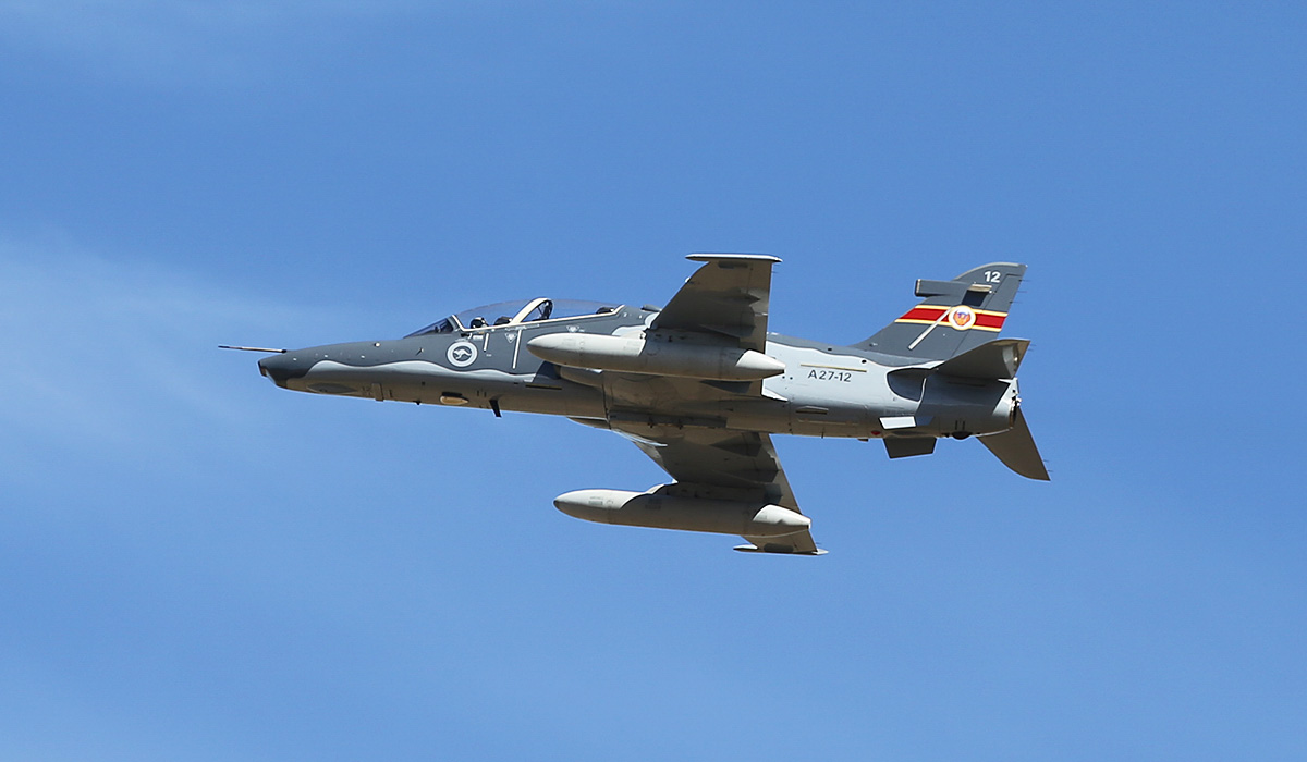 A27-12 BAE Systems Hawk 127 (MSN DT12) of 79 Squadron, RAAF, at RAAF Pearce – Thu 17 April 2014. Taking off from runway 18L with a pair of underwing drop tanks. Photo © Keith Anderson