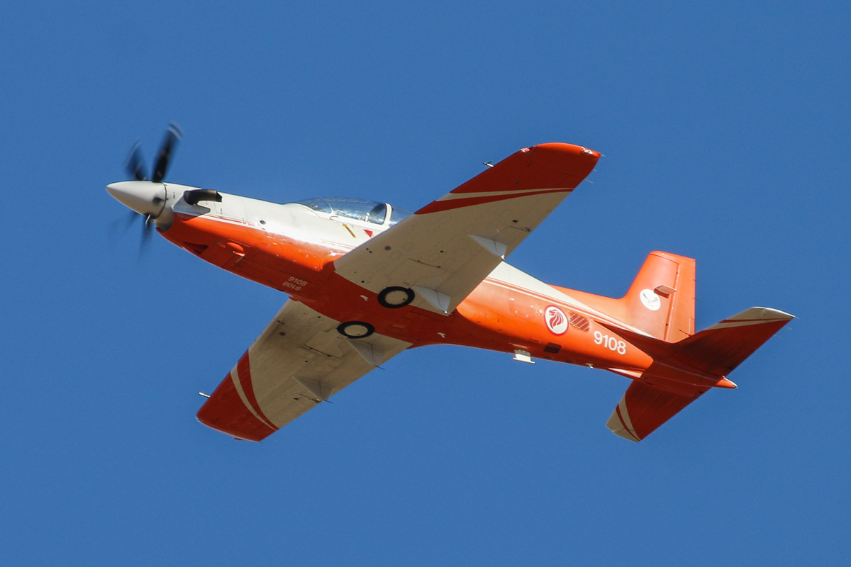 9108 Pilatus PC-21 (MSN 116) of 130 'Eagle' Squadron, Republic of Singapore Air Force, at RAAF Pearce - Tue 22 April 2014. Photo © David Eyre