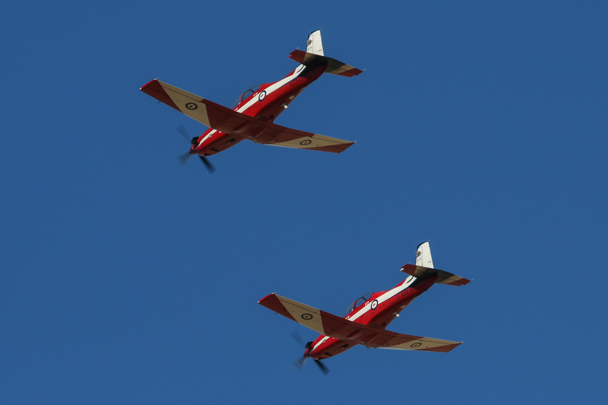 A23-018 (MSN 518) and A23-021 (MSN 521) Pilatus PC-9/A of 2 Flying Training School (2FTS), RAAF, at RAAF Pearce - Tue 22 April 2014. Photo © David Eyre