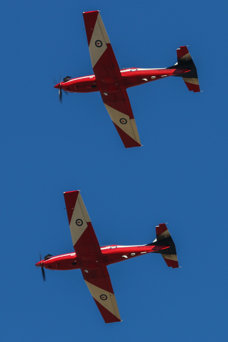 A23-040 (MSN 540) and A23-041 (MSN 541) Pilatus PC-9/A of 2 Flying Training School (2FTS), RAAF, at RAAF Pearce - Tue 22 April 2014. Photo © David Eyre