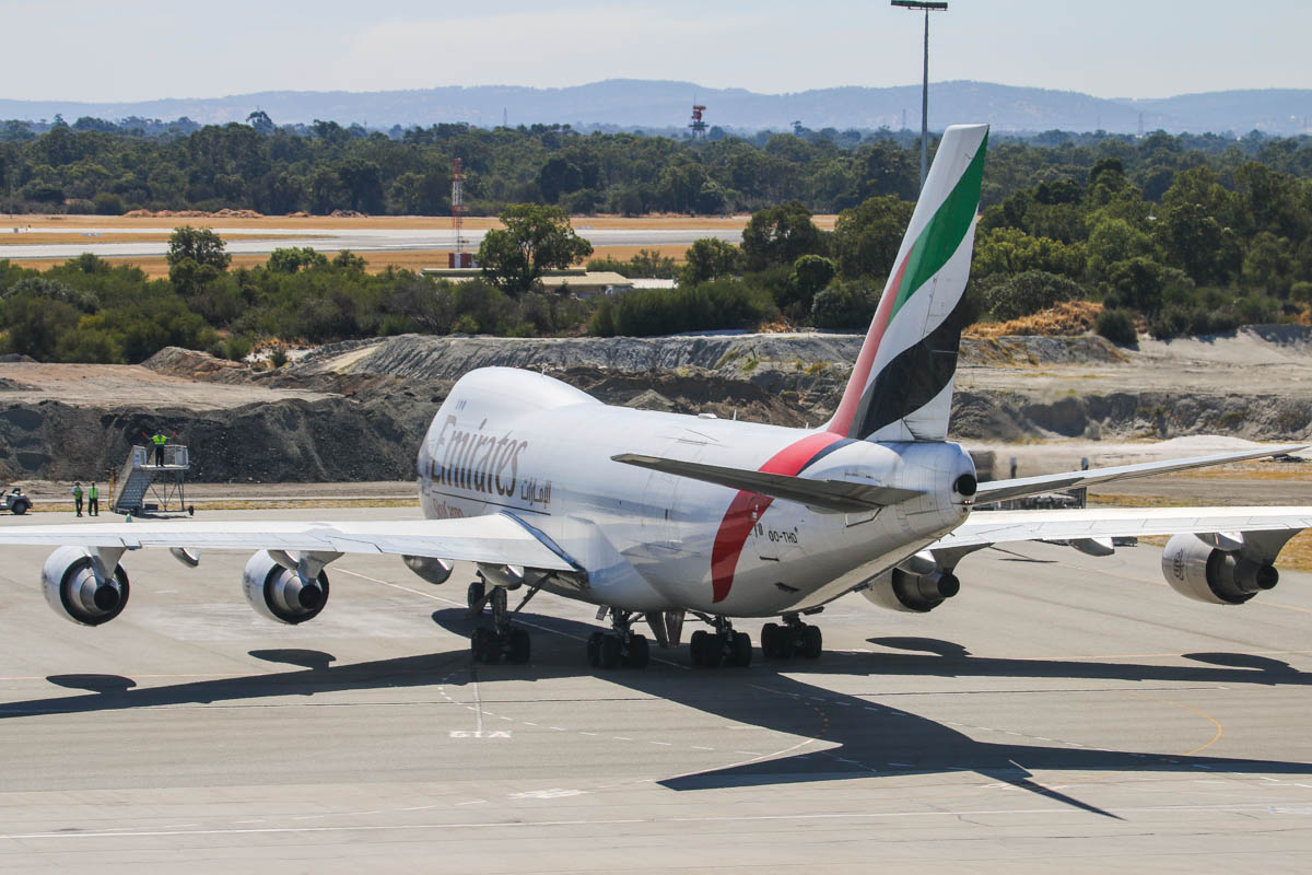 OO-THD Boeing 747-4HAF(ER) (MSN 35236 / 1399) of Emirates SkyCargo at Perth Airport - Tue 22 April 2014. Photo © David Eyre