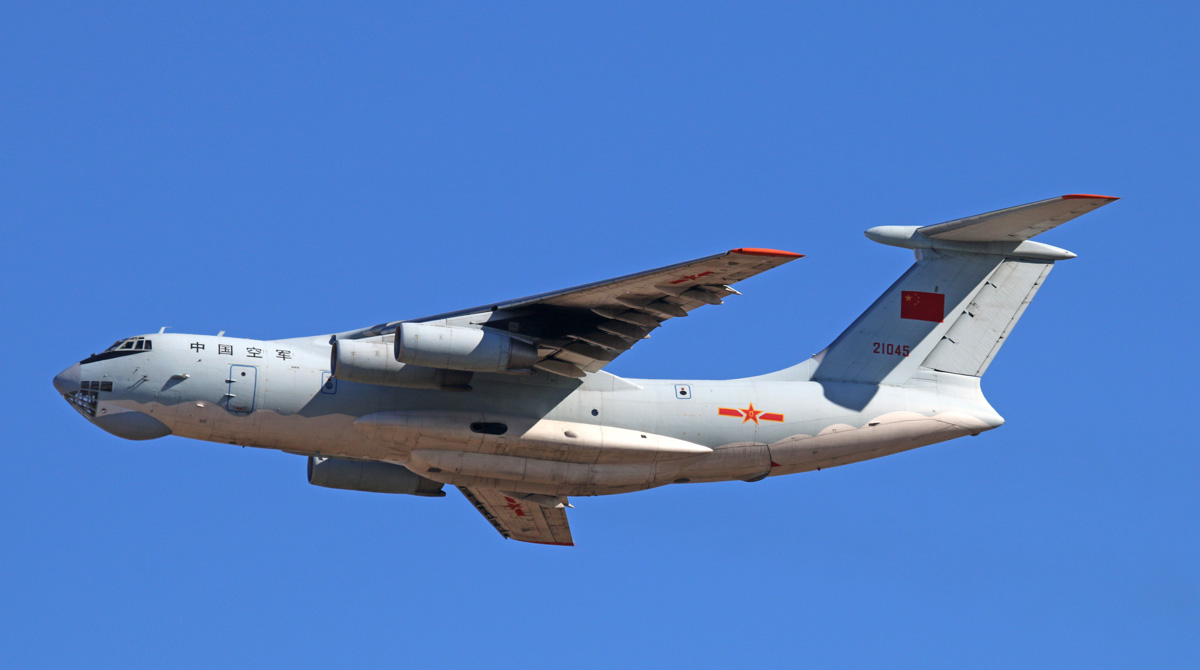 21045 Ilyushin IL-76MD (MSN 1033416524) of the 13th Transport Division, 39th Air Regiment, Peoples' Liberation Army Air Force (PLAAF), at Perth Airport – Tue 29 April 2014. Photo © Steve Jaksic