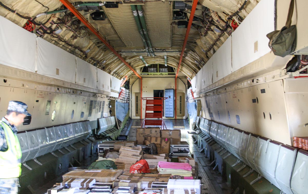 Cargo hold of 20541 Ilyushin IL-76MD (MSN 0083486570) of the 13th Transport Division, 39th Air Regiment, Peoples' Liberation Army Air Force (PLAAF) (China), at Perth Airport – Wed 30 April 2014. Photo © Wilson