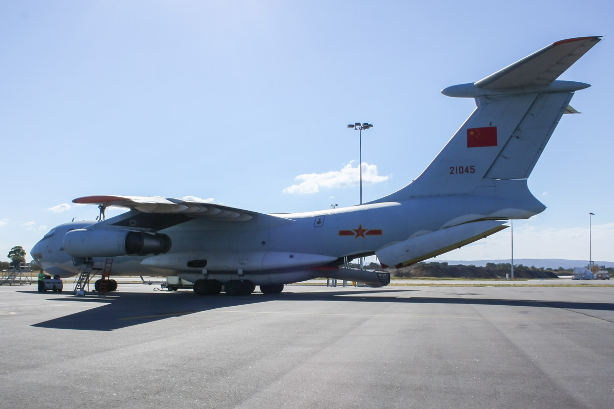 21045 Ilyushin IL-76MD (MSN 1033416524) of the 13th Transport Division, 39th Air Regiment, Peoples' Liberation Army Air Force (PLAAF), at Perth Airport – Wed 30 April 2014. Photo © Wilson