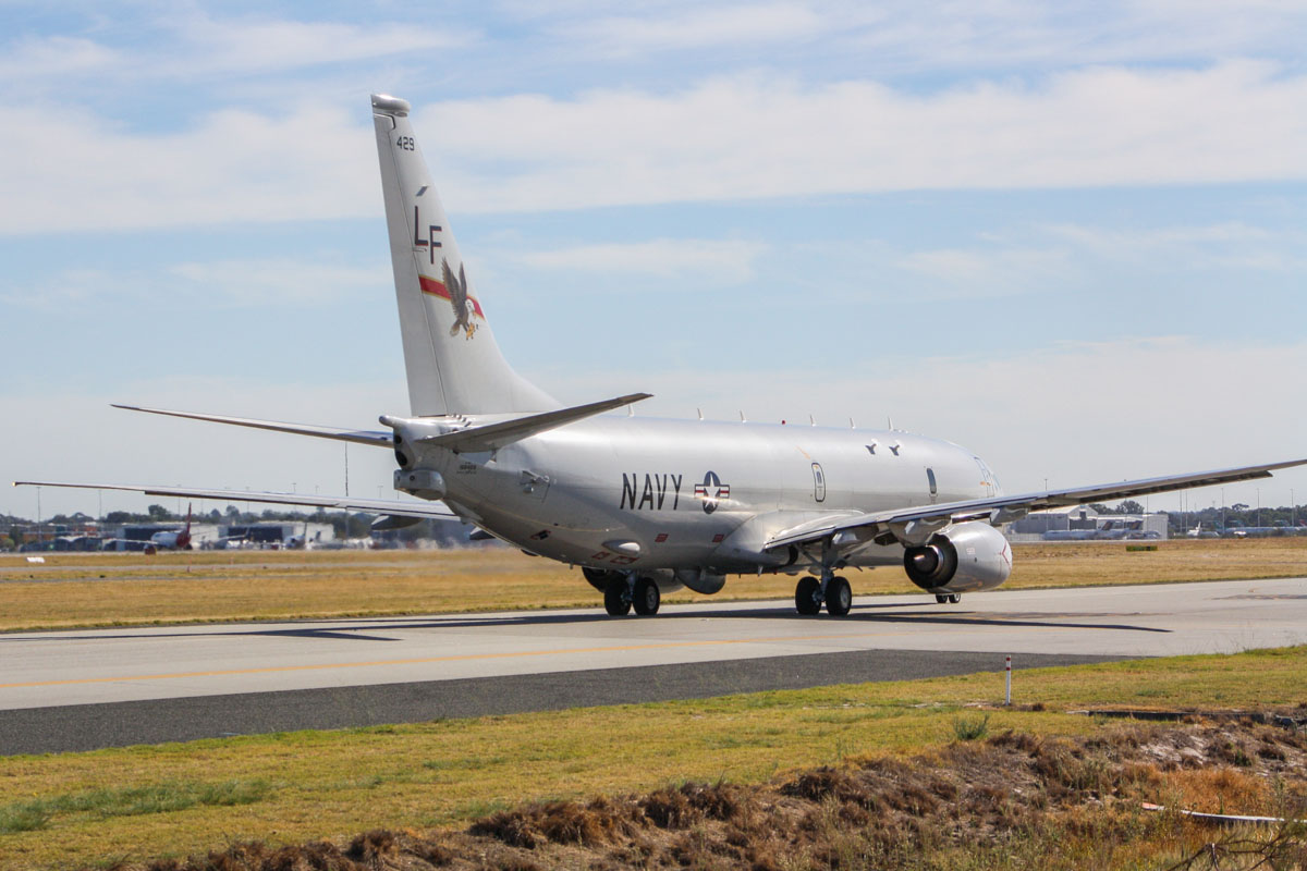168429 / LF-429 Boeing P-8A Poseidon (737-8FV) (MSN 40809/3792) of VP-16 'War Eagles', US Navy, at Perth Airport – Thu 1 May 2014. Photo © Wilson