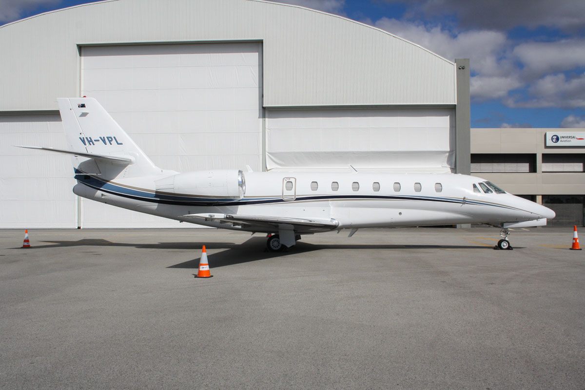 VH-VPL Cessna 680 Citation Sovereign (MSN 680-0250) of Corporate-Wings (Twentieth Super Pace Nominees Pty Ltd) at Perth Airport – Thu 1 May 2014. Photo © Wilson