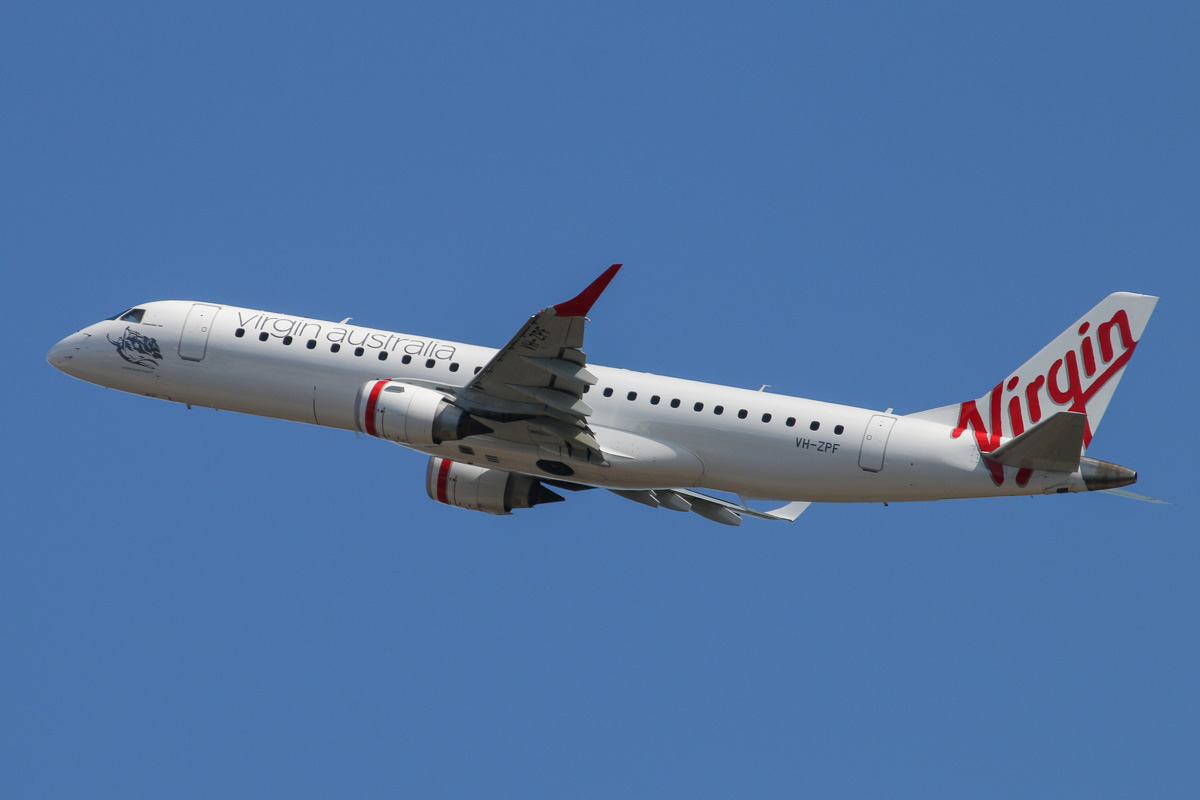 VH-ZPF Embraer 190 (ERJ-190-100-IGW) (MSN 19000193) of Virgin Australia, named 'Whitehaven Beach', at Perth Airport – Thu 1 May 2014. Photo © David Eyre