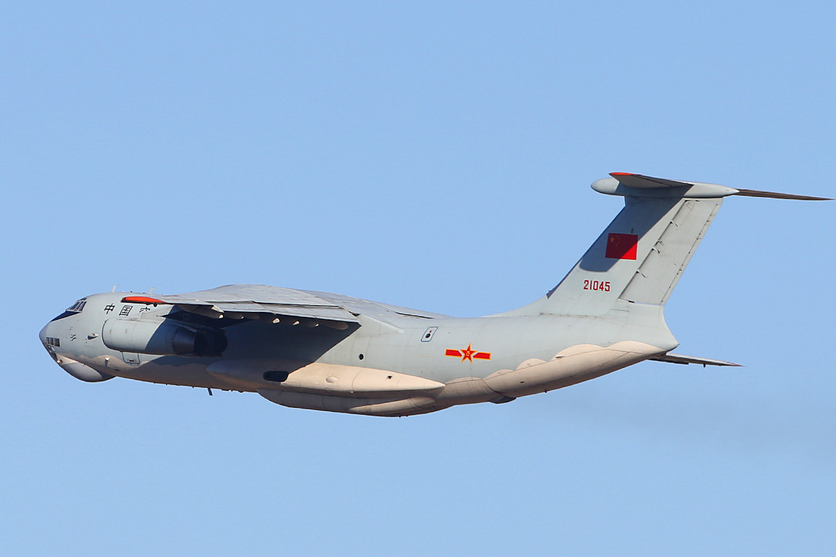 21045 Ilyushin IL-76MD (MSN 1033416524) of the 13th Transport Division, 39th Air Regiment, Peoples' Liberation Army Air Force (PLAAF), at Perth Airport – Sat 3 May 2014. Photo © Keith Anderson