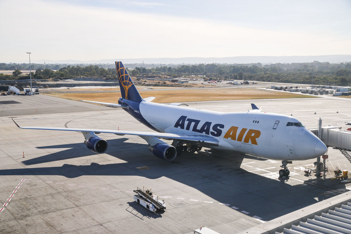 N477MC Boeing 747-47UF (MSN 29255/1184) of Atlas Air, at Perth Airport – Sat 3 May 2014. Photo © David Eyre