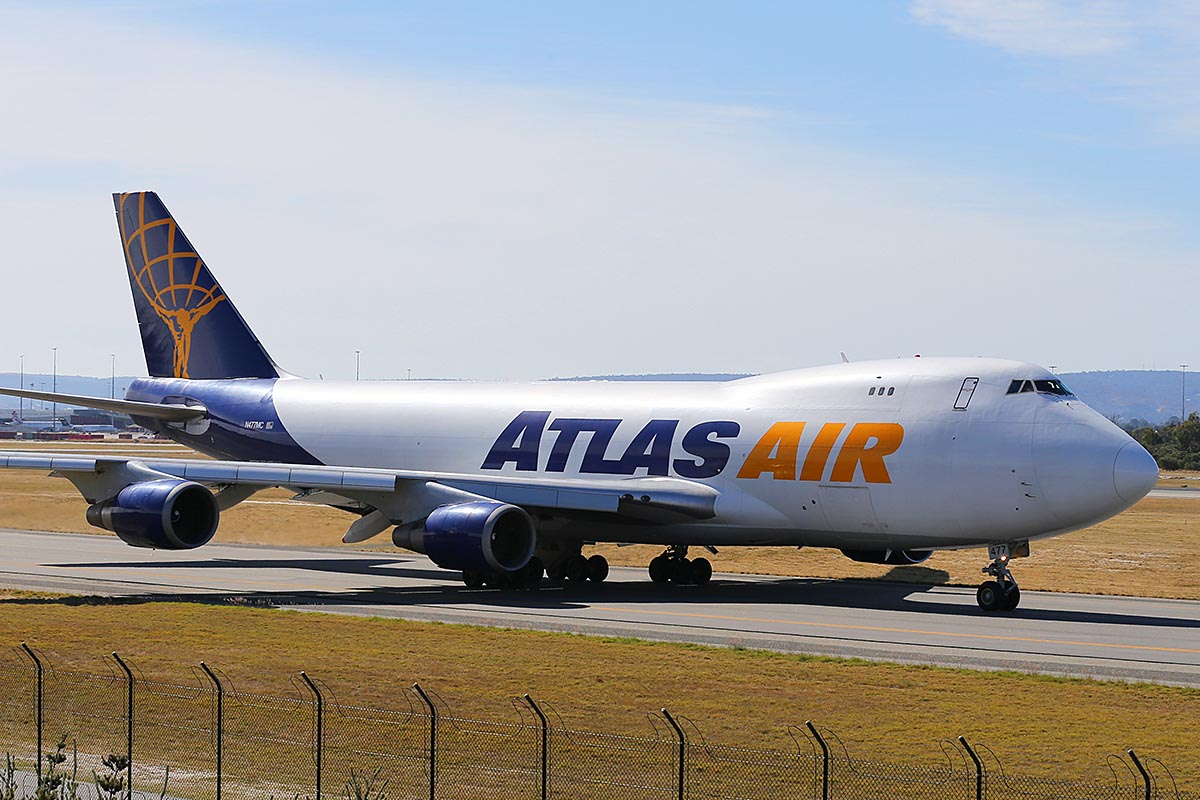N477MC Boeing 747-47UF (MSN 29255/1184) of Atlas Air, at Perth Airport – Sat 3 May 2014. Photo © Keith Anderson