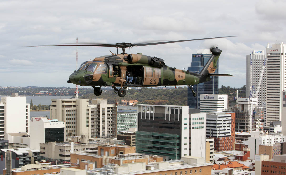 "A25-210 Sikorsky S-70A-9 Blackhawk (MSN 70-1348) ""Dragoon"" of Australian Army, 6th Aviation Regiment, over the city of Perth, WA - Mon 5 May 2014. Photo ©Commonwealth of Australia, ABIS Chris Beerens, 20140505ran8526162_087"