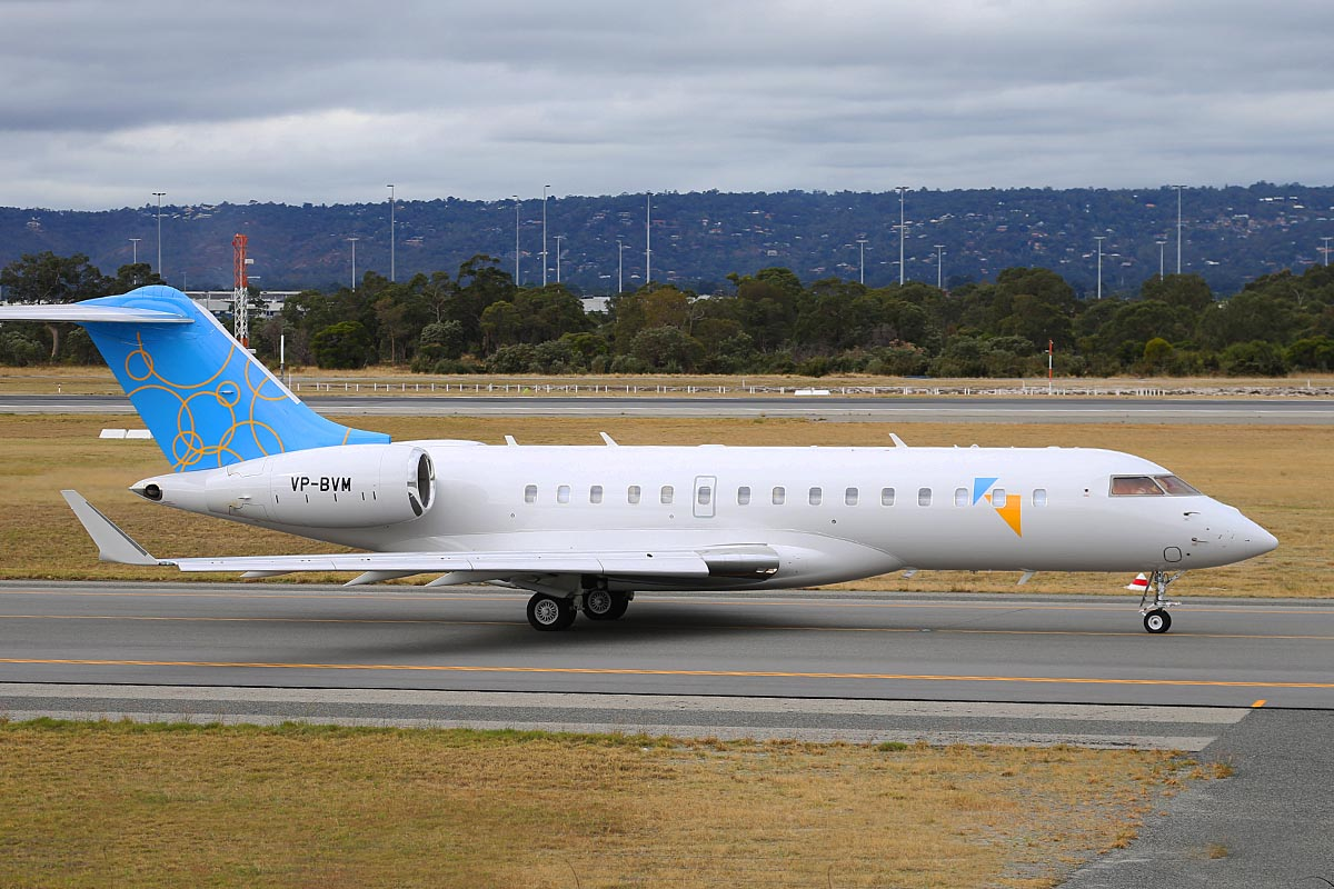 VP-BVM Bombardier BD-700-1A10 Global 6000 (MSN 9512) owned by Symphony Millennium Ltd, at Perth Airport – Tue 6 May 2014. Photo © Keith Anderson