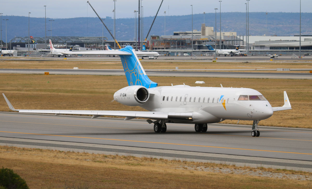 VP-BVM Bombardier BD-700-1A10 Global 6000 (MSN 9512) owned by Symphony Millennium Ltd, at Perth Airport – Tue 6 May 2014. Photo © Steve Jaksic