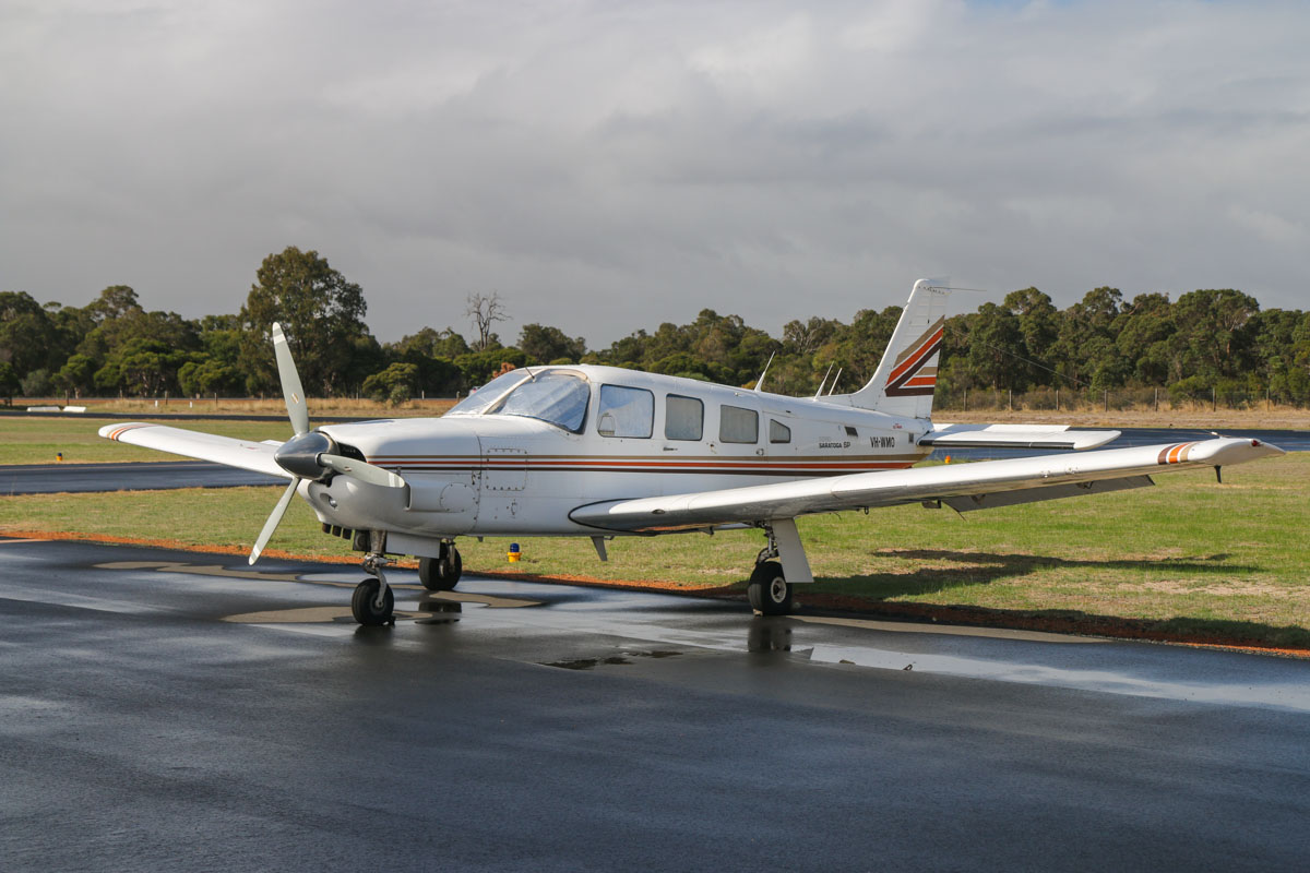 VH-WMO Piper PA-32R-301 Saratoga SP (MSN 32R-8113005) owned by Olympic Aviation Pty Ltd, at Bunbury Airport – Fri 9 May 2014. Photo © David Eyre