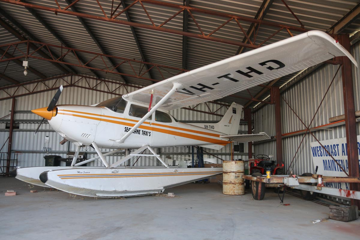 VH-THD Cessna R172K Hawk XP floatplane (MSN R1722005) of Millston Pty Ltd, with Seaplane Taxis titles, named 'Miss Jessica', at Bunbury Airport – Fri 9 May 2014. Photo © David Eyre