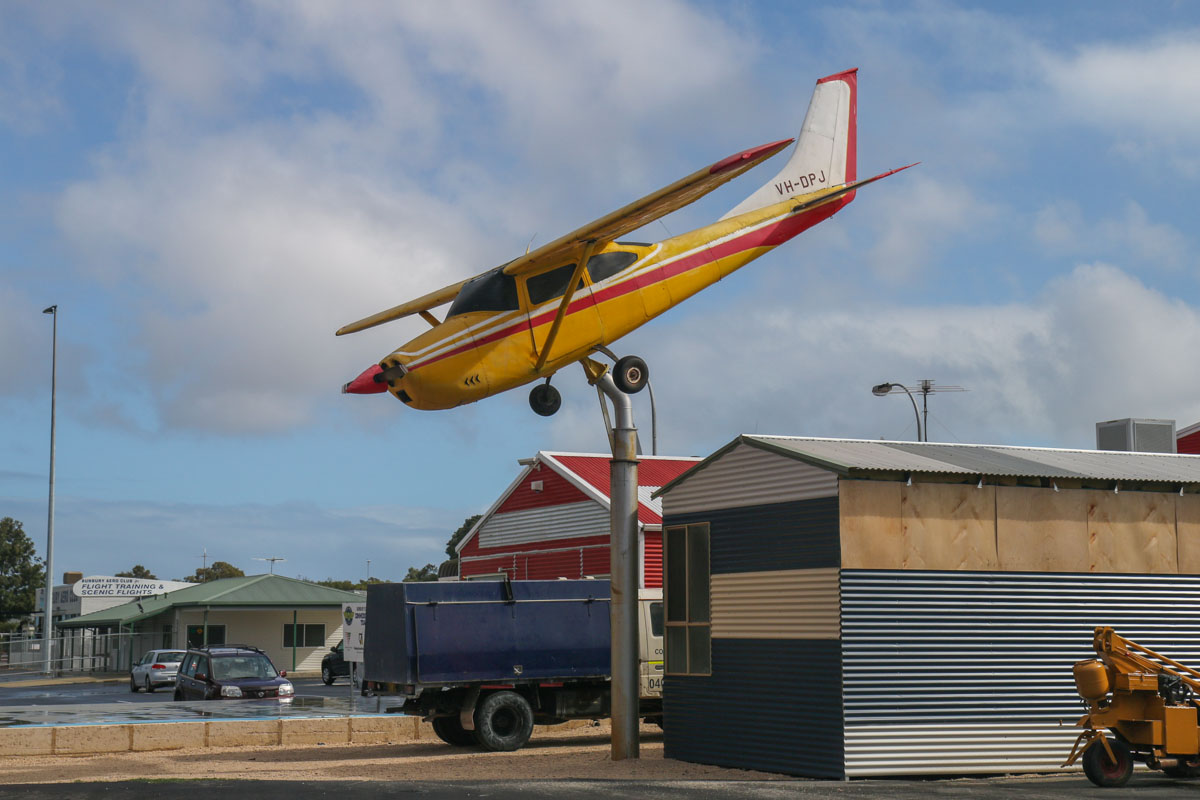 VH-DPJ Cessna 182K Skylane (MSN 18258007) on a pylon, minus nose wheel, at Bunbury Airport – Fri 9 May 2014. Photo © David Eyre