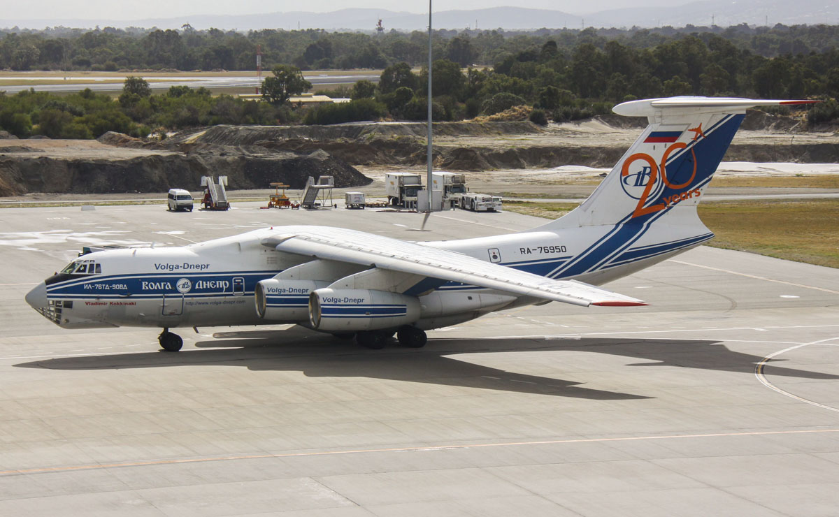 RA-76950 Ilyushin IL-76TD-90VD (MSN 2053420697) of Volga-Dnepr Airlines, named 'Vladimir Kokkinaki', at Perth Airport – Fri 9 May 2014. Photo © Steve Jaksic