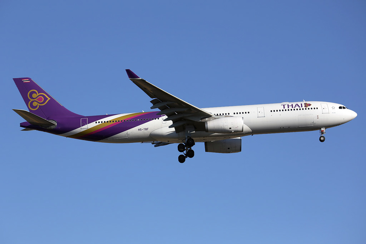 "HS-TBF Airbus A330-343X (cn 1374) of Thai Airways International, named ""Sa Kaeo"", at Perth Airport – Sun 11 May 2014. Photo © Ian Moy"