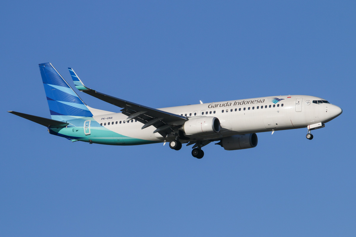 PK-GNA Boeing 737-8U3 (MSN 41310/4692) of Garuda Indonesia, at Perth Airport – Tue 13 May 2014. Photo © David Eyre