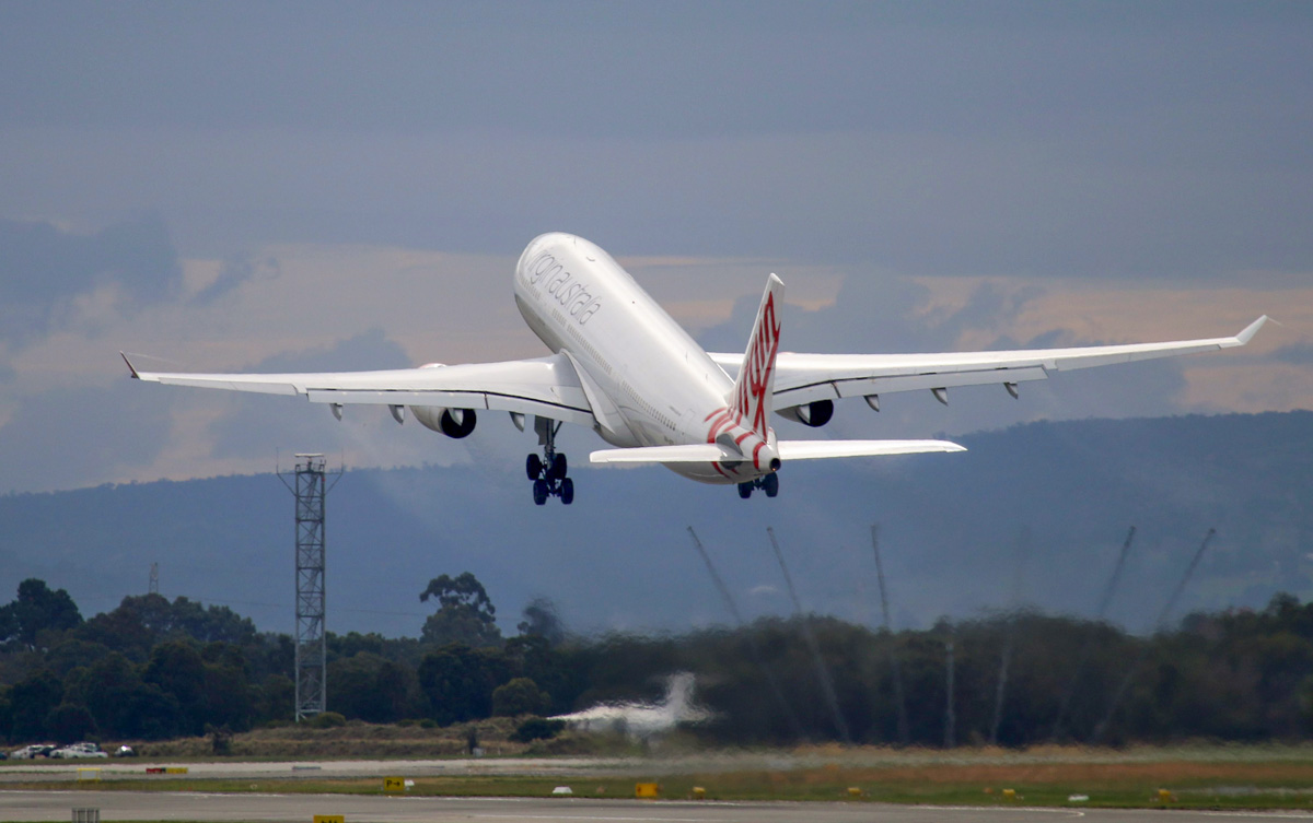 VH-XFD Airbus A330-243 (MSN 1306) of Virgin Australia, named 'Bells Beach', at Perth Airport – Thu 22 May 2014. Photo © Steve Jaksic